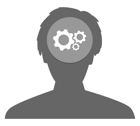 substitute: the illustration of head with cogwheel clockwork