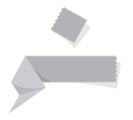 perforation: The blank grey folded label with perforation Illustration