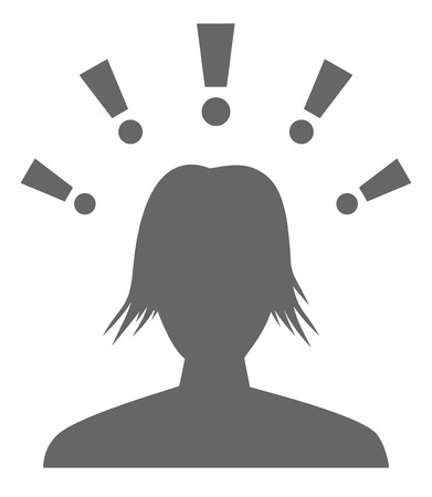 substitute: The head silhouette with exclamation marks