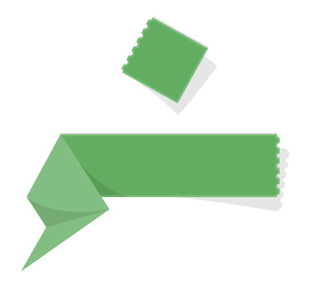 perforation: the illustration of green folded label with perforation Illustration