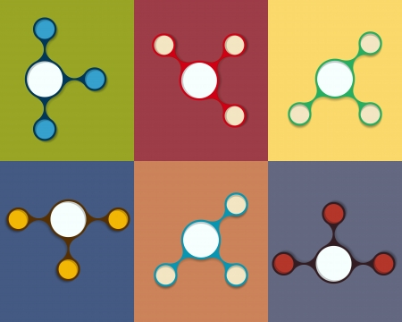 schedule system: the set of six color blank circle shapes schedules Illustration