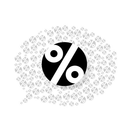 the sale bubble made out of percent sign pictograms