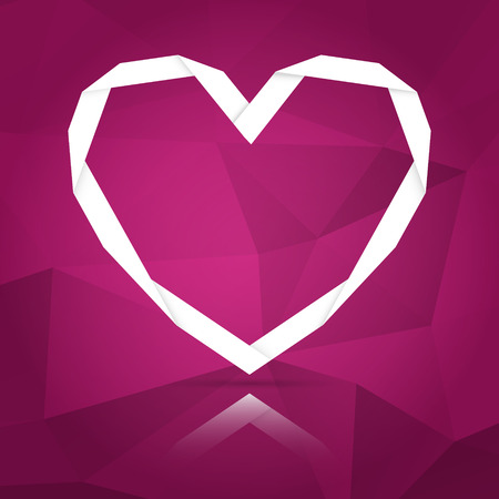 the illustration of stylish origami heart with abstract