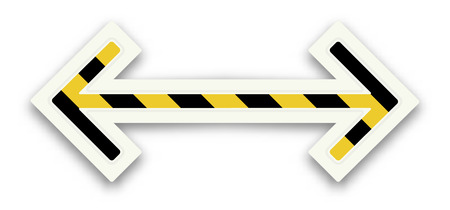 hesitation: The glossy arrow graphic element with black and yellow stripes