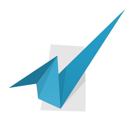 accepter: l'illustration d'accepter signe dans le style de l'origami
