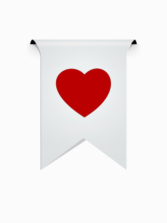 the white ribbon with red heart pictogram