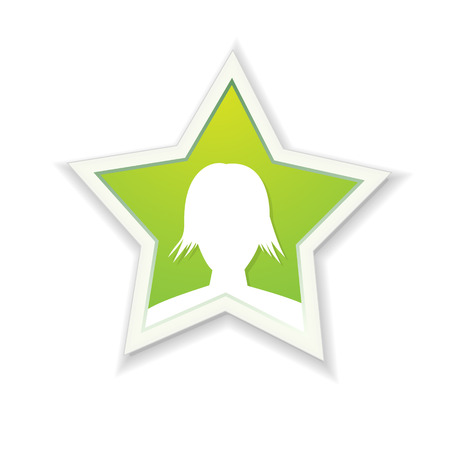the illustration of woman head in star shape Vector