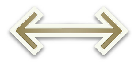 The glossy brown arrow graphic element