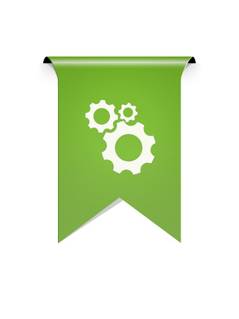 The green tag with the setting symbol