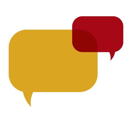 the illustration of two vivid overlapping speech bubbles