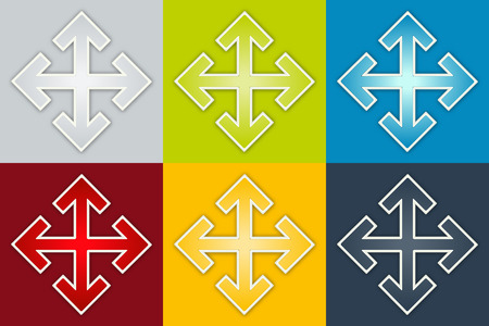 the set of six glossy color crossroad graphic elements