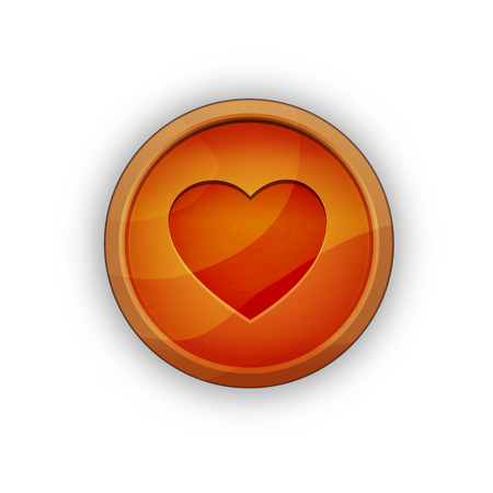 the illustration of button with heart pictogram