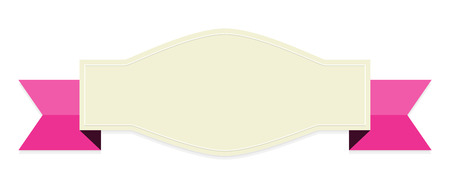 the blank oval label with pink ribbon