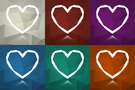 the illustration of stylish origami hearts with abstract background