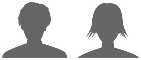silhouettes of man and woman head