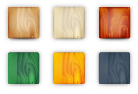 the set of blank square buttons with wooden texture Vector