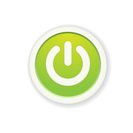 the green circle button with standby icon Vector