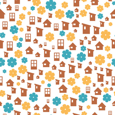 homely: the abstract seamless background made out of house and flower icons