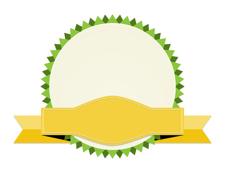 the blank oval label with yellow ribbon Vector