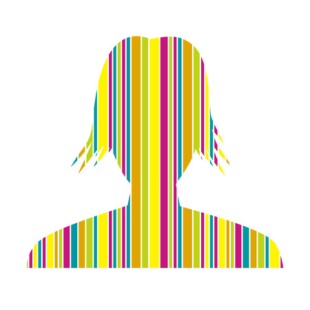 gaudy: the illustration of woman head silhouette made out of vibrant color stripes Illustration