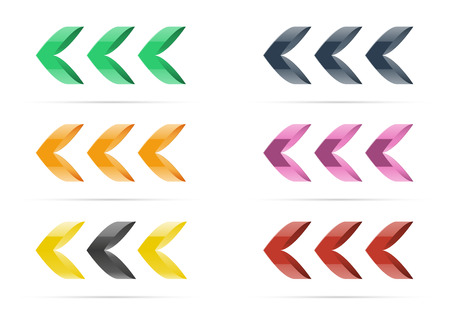 outlook: the set of six color stylish arrow graphic elements