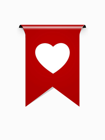 the red ribbon with white heart pictogram Illustration