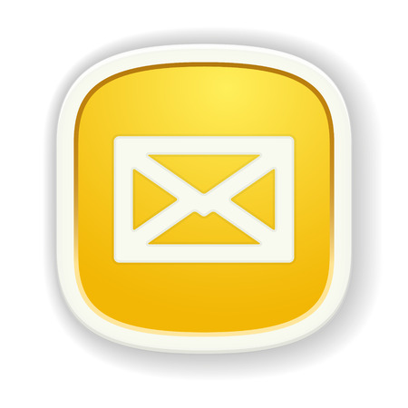 the yellow glossy icon with envelope pictogram Vector