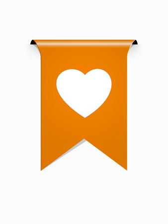 the orange ribbon with white heart pictogram Illustration