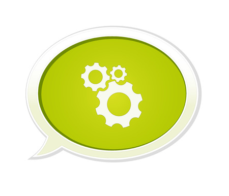 The green speech bubble with the setting symbol