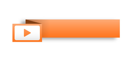 the illustration of blank  orange rectangle label with arrow icon Vector