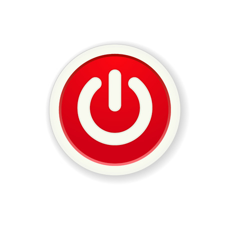 the red circle button with standby icon Vector