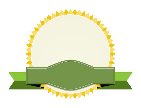 the blank oval label with ribbon Vector