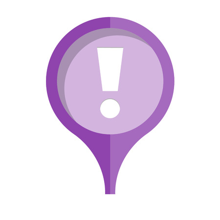 exclamation mark: the purple pin with exclamation mark Illustration