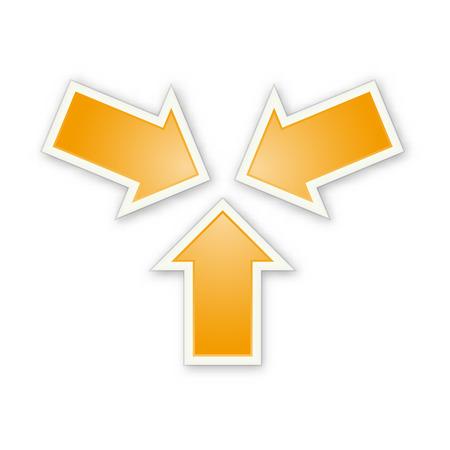Three orange glossy arrows