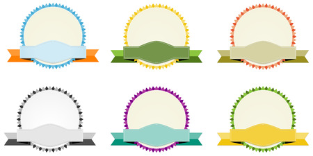 the collection of blank oval labels with ribbon Vector