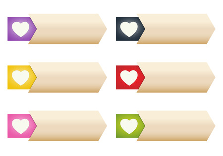 affability: the collection of blank buttons with heart pictogram Illustration