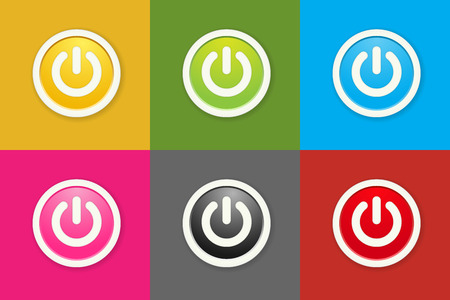 the set of circle buttons with standby icon Vector