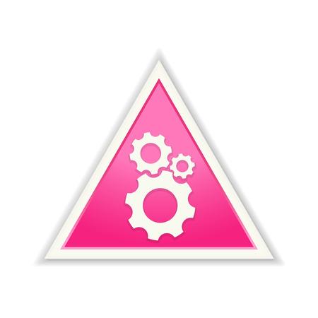 De glossy roze driehoek tandwielpictogram