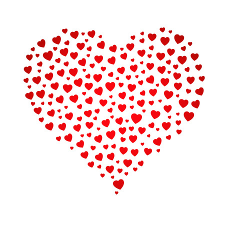 affability: The red heart shape made out of small heart pictograms