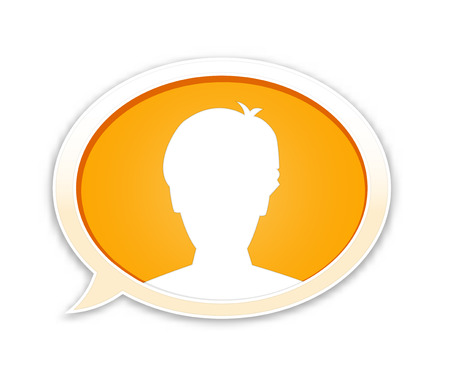 the orange glossy speech bubble with head silhouette Vector