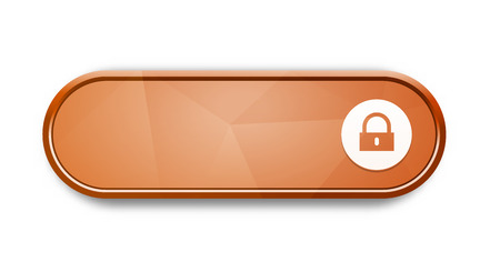 the blank glossy orange button with lock pictogram Vector