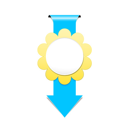 the illustration of blue arrow with blank flower style badge