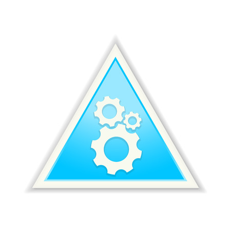 The glossy blue triangle gear icon Vector