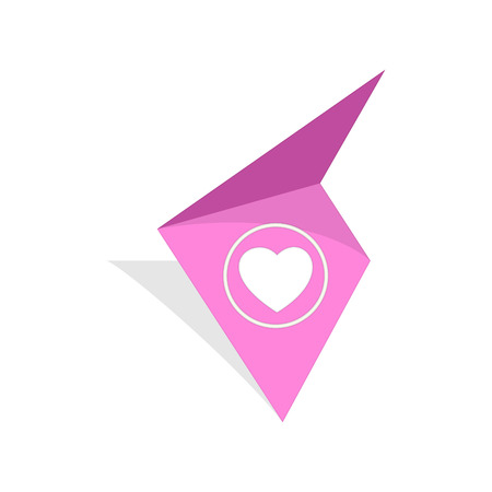 the pink tag with white heart pictogram Illustration
