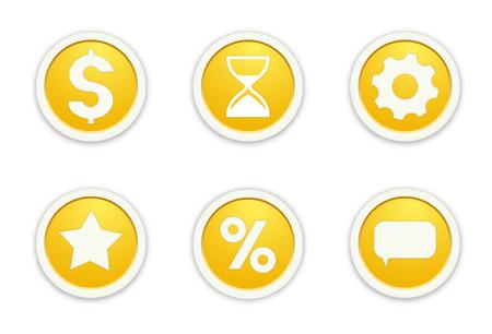 die Illustration von sechs glossy buttons mit Piktogrammen