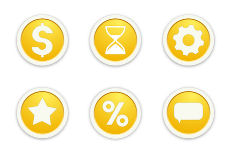 lifespan: the illustration of six glossy buttons with pictograms