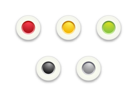 The set of red, yellow and green radio buttons Vector