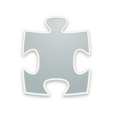 光沢のあるグレーのパズルのピースのイラスト