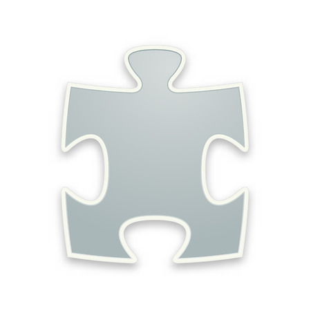 the illustration of glossy grey puzzle piece