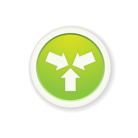 the glossy green button with start up icon Vector